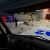 Triple murder. Russian police car (UAZ)